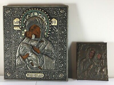 Lot 2 Antique Russian Silver plated Enamel Bronze Icon Stunning Details Pair