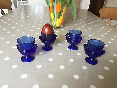 4 Egg cups Vintage French Blue Pressed Glass HEN CHICKEN  EASTER Decoration