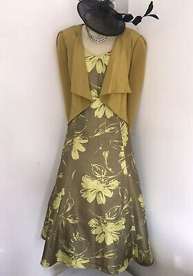 JACQUES VERT Sz 14 Dress JAEGER Jacket Mother Of The Bride Green Mustard Floral