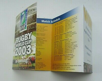 RUGBY WORLD CUP 2003 MEMORABILIA - fixture wallet and Party Guide booklet