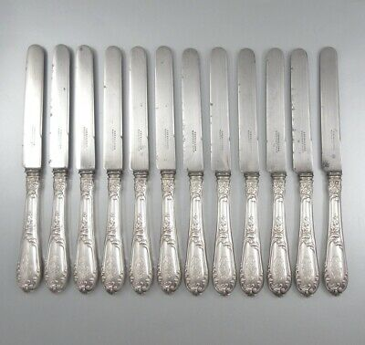 Antique French Sterling Silver Dessert Fruits Knives, Louis XV, Henri Soufflot