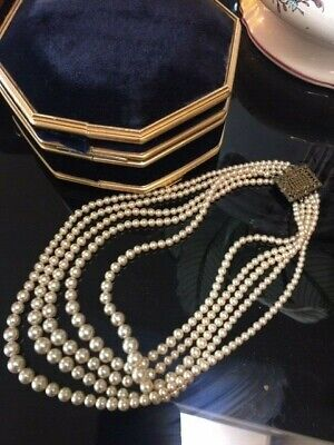 Vintage Deco Faux 5 strand Pearls with fancy clasp