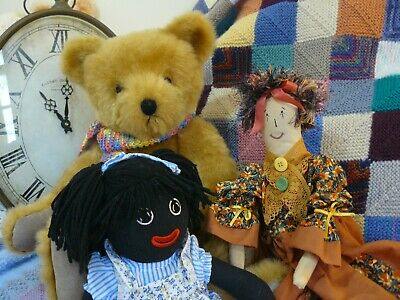 Vintage Black Doll, Large Jointed Teddy & Country Display Doll...perfect!!!