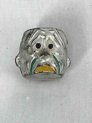 Vintage 1960's Silver Mean Man Monster Head Charm Gumball Vending Toy
