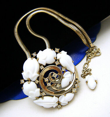 Crown Trifari Pat Pend White Fruit Salad Rhinestone Brooch Pendant Necklace