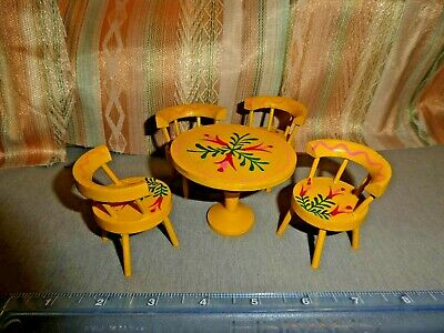 Vintage Mid-Century Modern German dollhouse Handpainted Table & Chairs furniture