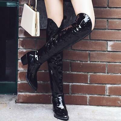 Sexy Clubwear Womens Patent Leather Over Knee High Boots Party Pointed Toe Shoes