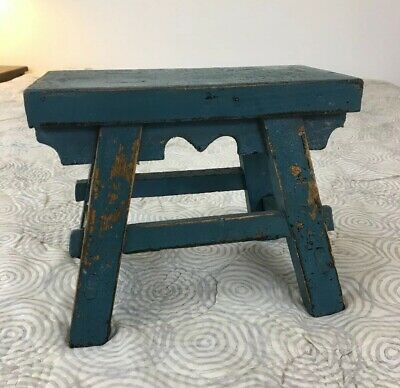AAFA Primitive Antique Vermont Four Legged Stool with Original Blue Paint