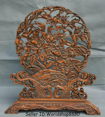 """13.6"""" Old Chinese Dynasty Huanghuali Wood Carving Phoenix Flower Lucky Screen"""