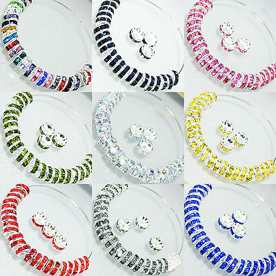 NEW 100PCS Silver Plated Rondelle Crystal Rhinestone Beads Spacer4,6,8,10mm