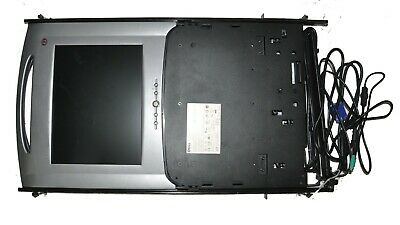 "Dell Poweredge Server Rack Console 15FP KVM 15"" Monitor Keyboard, Cables Rails"