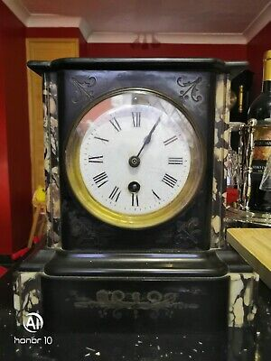 Antique Slate And Marble Mantel Clock
