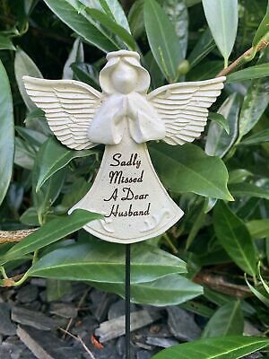 Husband Praying Angel Stick - Memorial Tribute Spike - Remembrance Plaque Stake