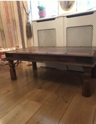 Large Rustic Solid Wood Indian Coffee Table