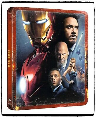 Marvel Iron Man I 2008 Blu-ray 4K UHD + 2K HD Steelbook Edition - Disney -