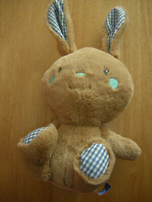 CARD FACTORY BLUEBERRY BUNNY SOFT TOY BLUE CHECKED EARS