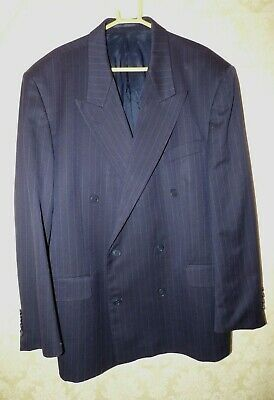 Mens Yves Saint Laurent Navy Blue Pinstripe Double breasted Jacket