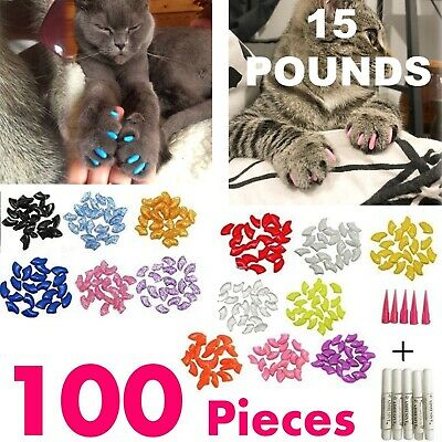 Pet Nail Caps Cats Paws Grooming Nail Claws Covers Soft 100 Pieces Large