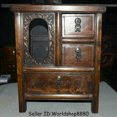 "15.6"" Antique China Huanghuali Wood Dynasty 3 drawer cupboard cabinet furniture"