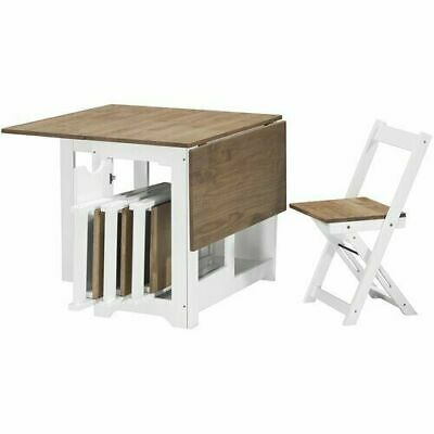 Folding Dining Wooden Table And 4 Chairs Set Extending Space Saving  White Pine