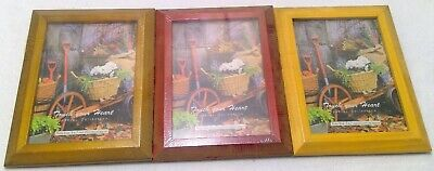 Wood picture frame lot 3 brown red new home decoration 5x7 tabletop