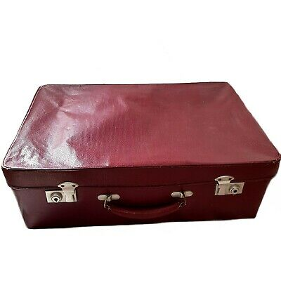 Vintage Antler Briefcase Small Travel Case Burgundy Red Bag Old Suitcase Luggage