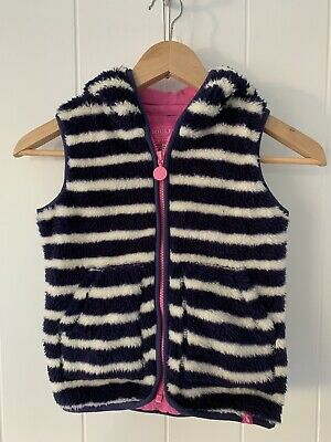 Joules Girls Dtriped Hooded Fur Gilet Blue And White Age 7Years