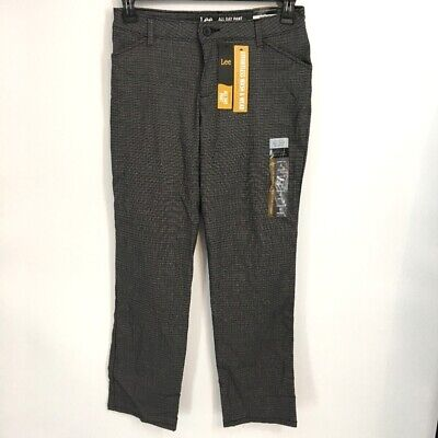 Lee Womens Pants Size 4S 4P All Day Straight Leg Relaxed Fit Black Patterned