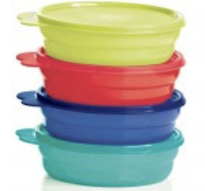 Tupperware Microwave Impressions Cereal Bowl Set of 4 New Blue Green Red Teal
