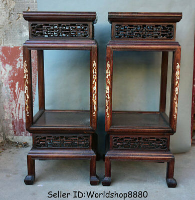 """33.2"""" Old Chinese Huanghuali Wood Inlay Shell Dynasty Flower stand Shelf Pair"""