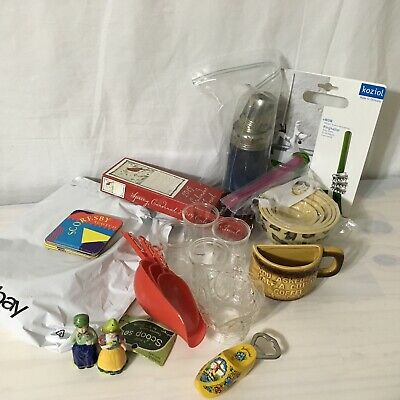 Junk Drawer Kitchen Edition Mixed New Vintage Half a Cup, Vtg Scoops, ring hold