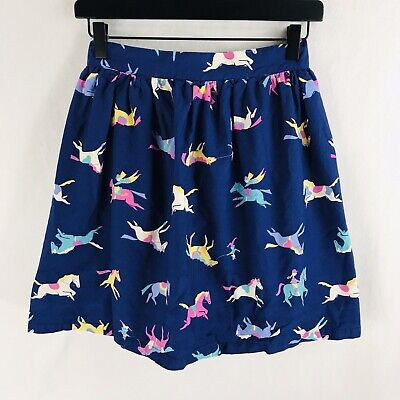 Joules Girls Size 11 12 Blue Novelty Print Skirt Horses Cotton Stretch