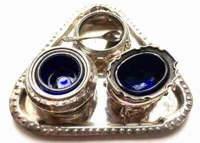 Classic Silver plate blue glass Vintage Condiment Collection salt pepper mustard