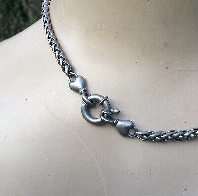 Antique Victorian Silver Fancy Heart Bolt Ring Weaved Link Necklace Choker Chain