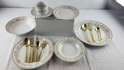 NEW Wellington (China) Dinnerware Set w/ Serving Pcs Service for 8 Floral Gold