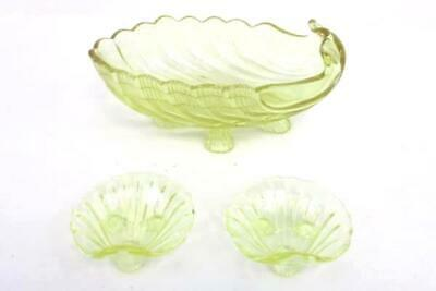 Yellow Glass Large Seashell Shaped Serving Bowl Footed w/ 2 Shell Dip DIshes