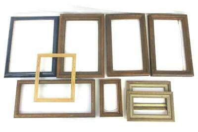 Lot of 9 Photo Frames DIY Craft Wood No Glass Variety of Sizes Small Large
