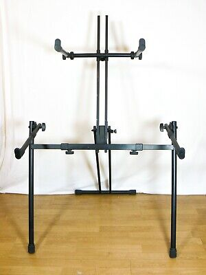 QUIKLOK 2 Tier Stand Keyboard Piano Synth Heavy Duty Adjustable Double Brace