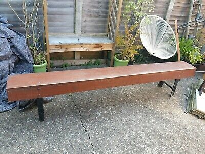 Vintage Old Rustic Pub Wooden Bench With Metal Legs Can Deliver See Description