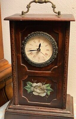 Vintage Table Clock in Wooden Case Box Hand Painted
