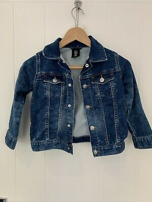 H&M Girls Dark Blue Distressed Dye-Look Button Up Denim Jacket Age 5-6 Years