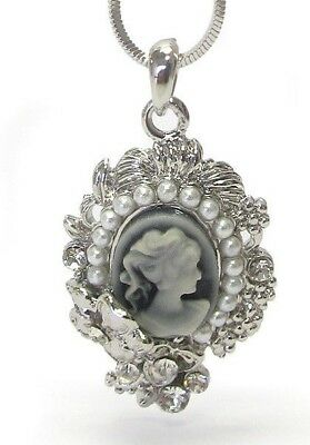 Vintage Ornate Style Floral Cameo Necklace White Gold Plated with Crystal Acents