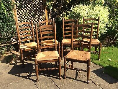 Miraculous 6 Vintage Oak Ladder Back Dining Chairs With Rush Envelope Pdpeps Interior Chair Design Pdpepsorg