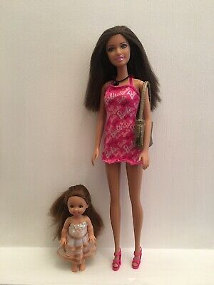 Used Mattel Barbie Doll And Toddler Sister Doll.
