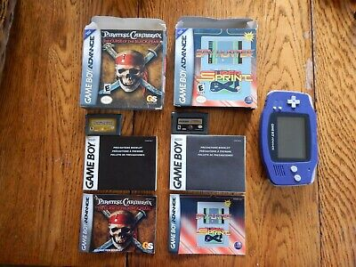 Nintendo Game Boy Advance Indigo Purple System Lot 2 CIB games