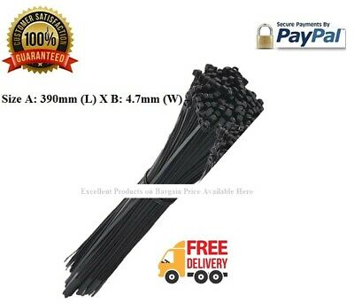 10-1000 Cable Ties Black Cable Tie Wraps Zip Ties Nylon Long 390mm x 4.7mm