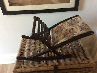Antique vintage French Dark wood foot stool with floral tapestry fabric top.