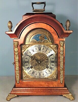 HERMLE 8-day BURR WALNUT Double Striking Mantel Clock with MOONPHASE DIAL
