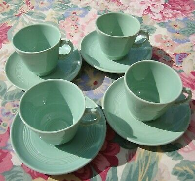 4 x Vintage Woods Ware Beryl Coffee Cup & Saucer - Espresso Size - Very Good
