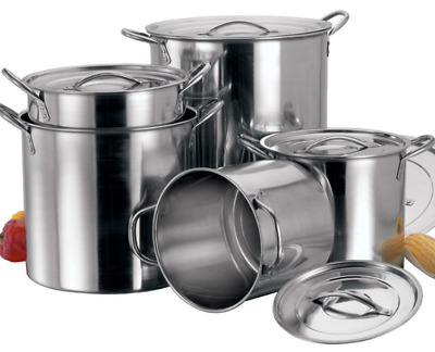 4pc Industrial Large Stock Pots Pans Restaurant Catering cooking Stainless Steel